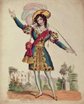 Madame Vestris in the role of Don Giovanni from Mozart's opera 'Don Giovanni' (coloured engraving) 19th