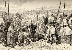 Pilgrims under escort of Knights Templar in front of Jerusalem in the 12th century (engraving) 17th