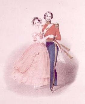 Queen Victoria (1819-1901) and Prince Albert Dancing (1819-61) (colour litho) 19th
