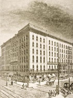 The Sherman Hotel, Chicago, in c.1870, from 'American Pictures' published by the Religious Tract Soc 16th