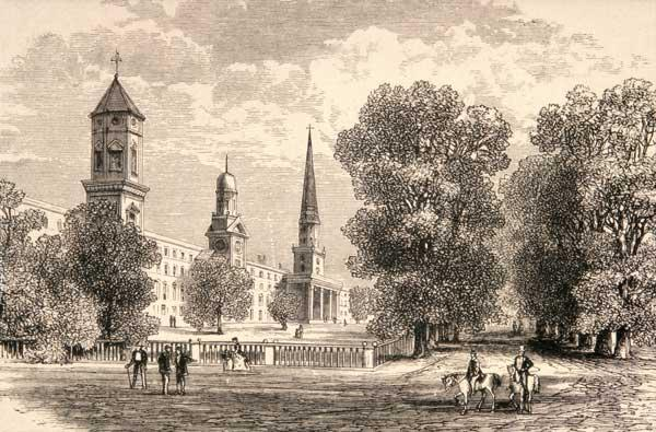 Yale College, New Haven, in c.1870, from 'American Pictures' published by the Religious Tract Societ 1721