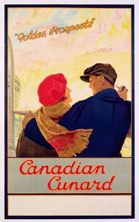 Poster advertising 'Cunard' routes to Canada c.1919