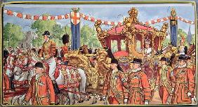 Jigsaw puzzle depicting the Coronation of Queen Elizabeth II (b.1926) 2nd June 1953 (colour litho on 1887