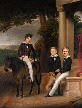 Portrait of John, George and Thomas Gladstone with their favourite pets c.1840
