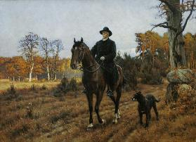 Bismarck on Horseback with Dog (oil print)