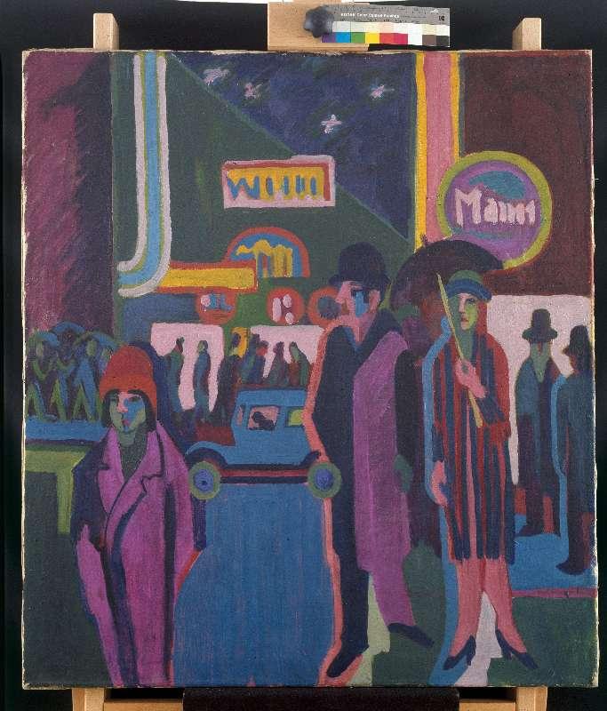 Straßenszene bei Nacht als Kunstdruck oder handgemaltes Gemälde.