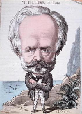 Victor Hugo (1802-85) on Jersey rock, 1867 (colour engraving) 19th