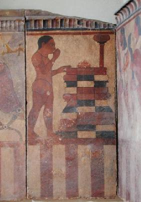 The Campana Plaque, detail of a nude priest before an altar, from Cerveteri c.550-525