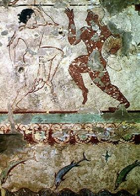 Two Dancers and Dolphins Leaping through Waves, frieze from the Tomb of the Lionesses in the necropo c.520 BC