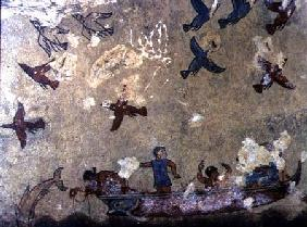Fishermen in a boat and birds flying, from the Tomb of Fishing and Hunting c.520-510