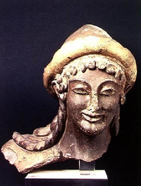 Head of Hermes wearing a pilos, from the Temple of Portonaccio, Veii 510-500 BC