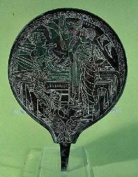 Mirror depicting Aphrodite persuading Helen to follow Paris to Troy, from Palestrina
