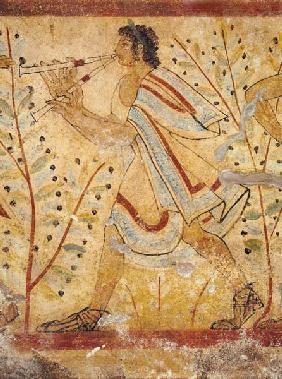 Musician playing the Pipes, from the Tomb of the Leopard c.490 BC