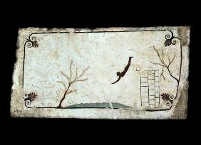 Painting from the Tomb of the Diver from the southern cemetery at Paestum 480-470 BC