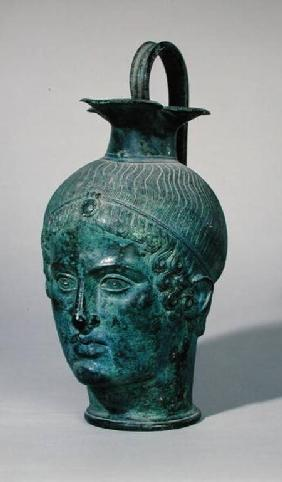 Oinochoe in the form of the head of a young man, known as the 'Tete de Gabies' c.400 BC
