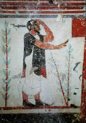 Priest making a ritual gesture, from the Tomb of the Augurs c.530-20 B