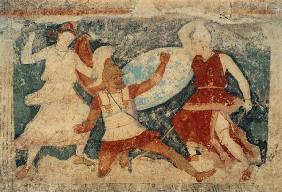 Two Amazons in combat with a Greek, from Tarquinia 370-360 BC