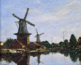 Dutch Windmills, 1884 (oil on canvas) 1884