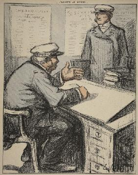 Two maritime gentlemen in their offices, illustration from ''L''assiette au Beurre: Les Fonctionnair