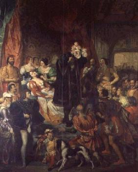 The Birth of Henri IV (1553-1610) at the castle of Pau, 13th December 1553 1827