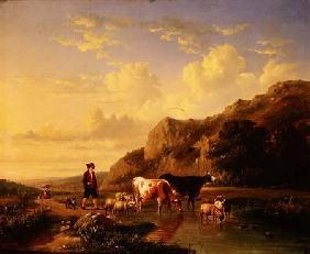 Kunstdruck von Eugène Joseph Verboeckhoven - A Shepherd with Animals
