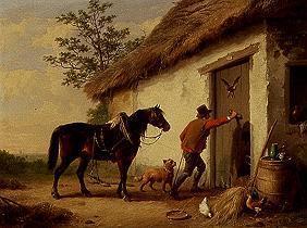 Kunstdruck von Eugène Joseph Verboeckhoven - An der Stalltüre