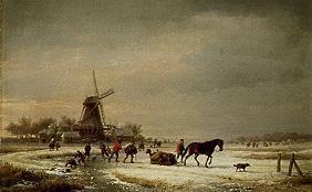 Kunstdruck von Eugène Joseph Verboeckhoven - Winterlandschaft an einer Windmühle