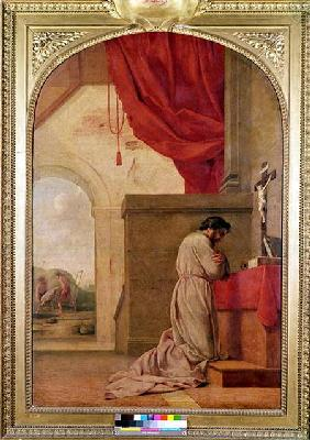 St. Bruno (1030-1101) Praying in his Chapel, from the Life of St. Bruno 1645-48