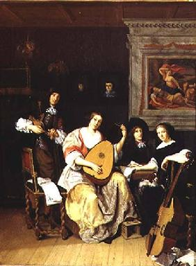 Interior with a group of musicians (panel)