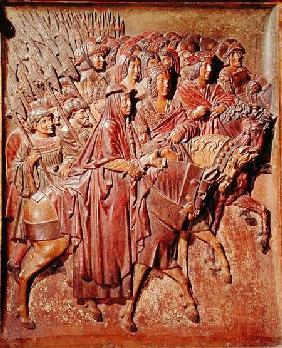 Relief depicting the entrance of King Ferdinand II (1452-1516) of Aragon and Queen Isabella I (1451-