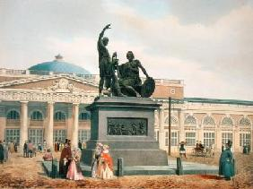 The Minin and Pozharsky monument in Moscow 1840s