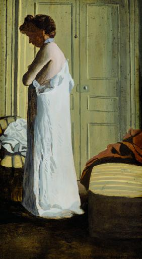 Nude in an Interior, Woman Removing her Shirt 1900