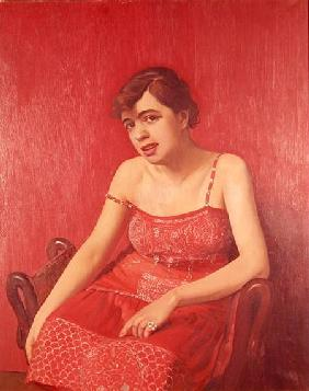 Romanian Woman in a Red Dress 1925