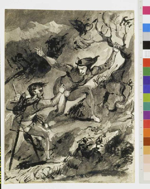 Faust und mephisto auf dem blocksberg ferdinand victor eug ne delacr als kunstdruck oder - Faust wandfarbe ...