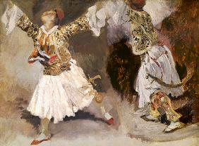 Two Greek Soldiers Dancing (Study of Soliote Dress) 19. Jh