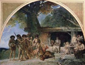 The Stone Age, returning from a bear hunting 1882