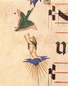 Missal 515 f.13v A cloaked cherub trying to catch a flying bird, from a decorative border detail fro