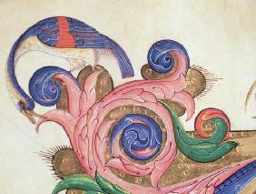 Missal 515 f.169r Fantastical bird peering around foliage, detail of decoration surrounding an histo