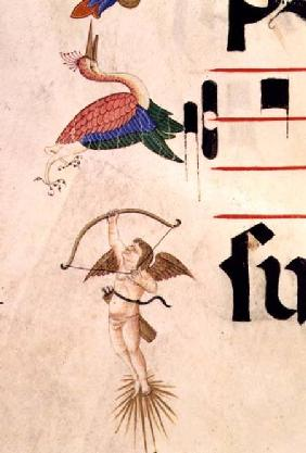 Missal 515 f.5r A Cherub shooting a stork with a bow and invisible arrow detail of