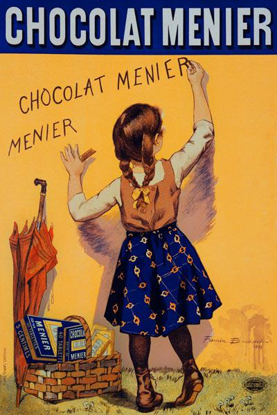 Reproduction of a poster advertising 'Menier' chocolate, 1893 (colour litho) 19th
