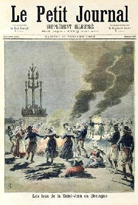 Bonfires lit to celebrate the summer solstice in Brittany, front cover of ''Le Petit Journal'', 1st