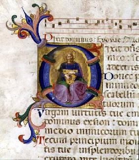 Ms 531 f.169v Historiated initial 'D' depicting King David with his lyre, from a psalter from San Ma
