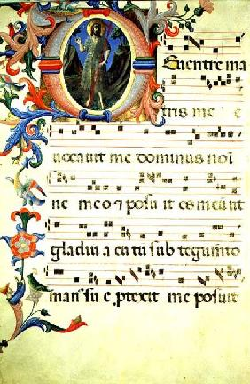 Ms 558 f.55v Page of choral notation with an historiated initial 'O' depicting St. John the Baptist, early 1430