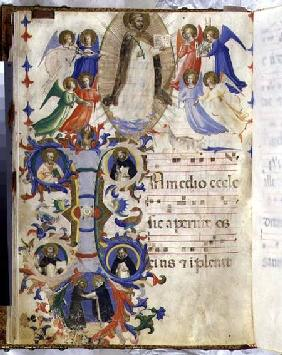 Ms 558 f.67v Page depicting St. Dominic and an historiated initial 'I' from a gradual book from San
