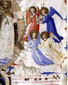 Ms 558 f.67v St. Dominic with four musical angels, from a gradual from San Marco e Cenacoli from a gra