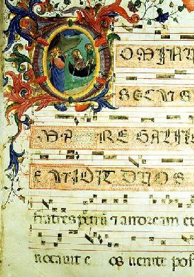 Ms 558 f.9r Historiated initial 'O' depicting the Calling of St. Peter and St. Andrew with musical n early 1430