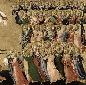 Christ Glorified in the Court of Heaven, detail of musical angels from the right hand side, 1419-35 1885