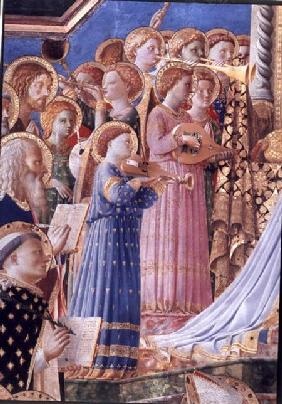 The Coronation of the virgin, detail of musical angels from the left hand side c.1430-32