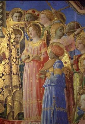 The Coronation of the Virgin, detail showing musical angels c.1430-32