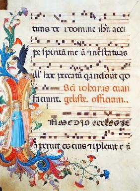 Ms 558 f.13v Historiated initial 'I' depicting St. John the Evangelist, with page of musical notatio early 1430